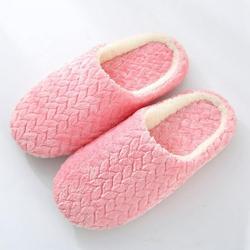 Prettyui-Adult Jacquard Suede Soft Bottom Cotton Slipper Indoor Anti-slip Casual Shoes