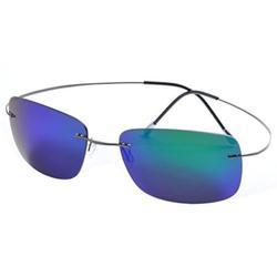 de ding rimless titanium polarized sunglasses (gray, purple)