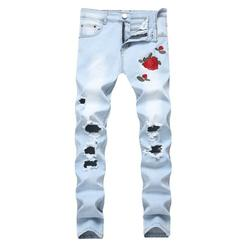 Mens Ripped Distressed Destroyed Washed Jeans Fashion Straight Fit Rose Embroidery Denim Jeans Skinny Pocket Moto Jeans