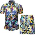 Men's Short Sleeve Tracksuit Floral Hawaiian Shirt and Shorts Suit Fashion 2 Piece Beach Outfits Sets