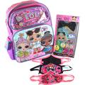 """L.O.L Surprise! Large School Backpack 16"""" Girls Bag LOL with 6-Pc Pop Hair Set and Goodies Bundle Bling Bling Purple LOL Surprise LOL Backpacks for Girls LOL Remix"""
