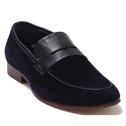 Zanzara NAVY Levine Suede Penny Loafer Shoes, US 9