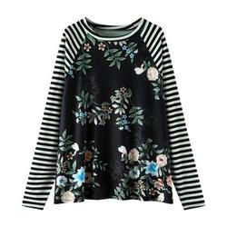 Tuscom Womens Casual Round Neck Long Sleeve Stitching Striped Floral Top