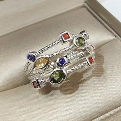 Women's Fashion 925 Sterling Silver Natural Multicolor Gemstone Ring
