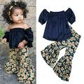 1-6Years Floral Girls Suit Kid Baby Girl Blue Velvet Tops+Sunflower Printed Loose Flare Pants Outfits Summer Children Clothing
