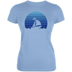 Marina Ocean Sail Boat Silhouette Retro Sunset Blue Juniors Soft T Shirt Light Blue 2XL