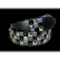 3-row Metal Pyramid Studded Leather Belt 3-tone Striped Punk Rock Goth Emo Biker - Grey With Silver And Black / L