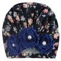 Forzero Autumn soft and cute newborn baby hospital hat flower pearl design girl hat baby hat turban elastic hat