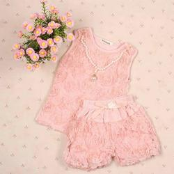 Abcelit Kids Girls Sets Rose Flower Top Shirt + Bloomer Short Pants + Pearl Necklace Outfits