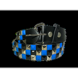 3-row Metal Pyramid Studded Leather Belt 3-tone Striped Punk Rock Goth Emo Biker - Blue With Silver And Black / L