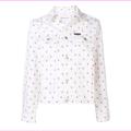 Calvin Klein Jeans Cotton Monogram Trucker Jacket, White\Red Monom, Size L, $168