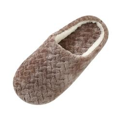 Adult Jacquard Suede Soft Bottom Cotton Slipper Indoor Anti-slip Casual Shoes