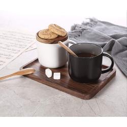 lameishuju Ceramic Coffee Mug Set Of 2,Coffee Mugs Ceramic Coffee Cup w/ Wood Lid,Tea & Milk Ceramic Cup,Black & White Ceramic Mugs, 14.3Floz