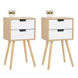 George Oliver Wooden Nightstand w/ Solid Wood Legs, Bedroom Living Room Office Home Furniture,Mid-Century Nightstand(2-Pack,) Wood | Wayfair in White