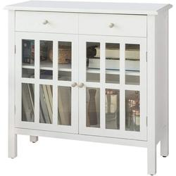 Winston Porter White Sideboard Storage Cabinet Cupboard 2 Drawers 2 Doors Wood in Brown/Gray, Size 31.5 H x 31.5 W x 13.39 D in | Wayfair