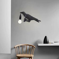 Red Barrel Studio® Creative Design Lucky Bird Resin Mobile Wall Lamp () Plastic in Black, Size 5.7 H x 12.9 W x 4.8 D in | Wayfair