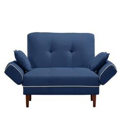 Latitude Run® Relax Lounge Sofa Bed Sleeper w/ 2 Pillows Twin Sleeper Size Polyester/Polyester Blend in Blue, Size 35.0 H x 56.5 W x 31.1 D in