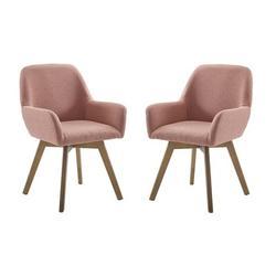 """Wade Logan® Wathen 22.83"""" W Linen Armchair Linen/Linen Blend/Fabric in Pink/White/Brown, Size 34.64 H x 22.83 W x 22.44 D in   Wayfair"""