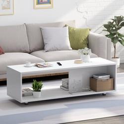 Latitude Run® 4 Legs Coffee Table w/ Storage Wood in Brown/White, Size 15.0 H x 47.2 W x 18.9 D in   Wayfair 23972A0E475D4DA18623916836ED65A0