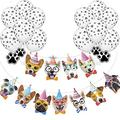 33PCS Dog Banner balloons for Dog Themed Party Decorations, 13pcs Dog Face banner & 20pcs Dog Paw Print Balloons for Dog Puppy Birthday Party Favors