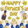 Father's Day Balloon Decoration Kit Includes Happy Father's Day Star Foil Balloon Beer Mug and Beer Bottle Aluminum Foil Balloon Latex Balloons are Perfect for Father's Day Party Supplies
