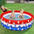 """American Flag Inflatable Kiddie Pool, 45"""" X 10"""" Baby Pool Inflatable 3 Rings Patriotic Swimming Pool for Kids Toddlers Infant Indoor Outdoor Water Pool Toys 4th of July Summer Beach Pool Party Fun"""