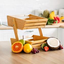 futurecitytrading Bamboo Fruit Basket – 2 Tier Fruit Stand For Kitchen Countertop – Fruit Holder For Kitchen – Perfect For Vegetables, Produce