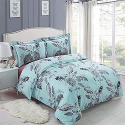 GoodDogHousehold Blue Duvet Cover Set, 3Pcs Bedding Duvet Cover Set w/ Zipper Closure & Corner Ties (1 Duvet Cover + 2 Pillow Shams) in Black