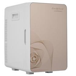 GD 20 Liter Compact Cooler Warmer Mini Fridge For Bedroom, Office, Car, Dorm - Portable Makeup Skincare Fridge Plastic in Brown   Wayfair