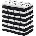 LSHUIGEN Towels Kitchen Towels, 100% Ring Spun Cotton Super Soft & Absorbent Dish Towels, Tea Towels & Bar Towels, (Pack Of 12) Cotton in Black