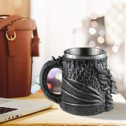 JingJiuTrade Dragon Mug Large Beer Mug Beer Steins 304 Stainless Steel Liner w/ Resin Relief Water Coffee Cup Medieval Flying Dragon Unique Game Mug Viking Tanka