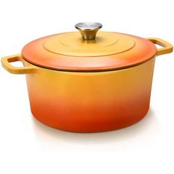 WPENGW Cast Iron Dutch Oven, 5 Quart Oven Pot w/ Stainless Steel Knob & Loop Handles, Cast Iron Round Pot w/ Nonstick Enameled Coating in Red