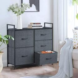Latitude Run® Dresser w/ 5 Drawers For Bedroom - Storage Tower, Bedside Furniture & Night Stand End Table Dresser For Home, Office, College Dorm