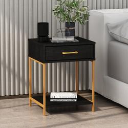 17 Stories Ayoola End Table w/ Storage Wood in Black, Size 22.8 H x 17.7 W x 15.7 D in | Wayfair C868C90346F64E8482A660150FD3F1F8