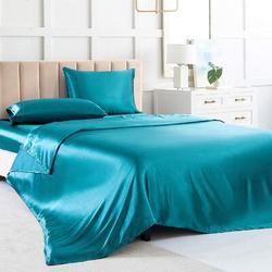 zhulinjubao Satin Sheets Queen Soft Silk Bed Sheets Navy Blue Silk Sheet w/ 1 Deep Pocket Fitted Sheet & 1 Flat Sheet in Green/Blue   Wayfair
