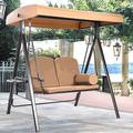 Arlmont & Co. Porch Swing Hammoc-K Bench Lounge Chair Steel 2-Seat Padded Outdoor W/Canopy US in Brown, Size 71.6 H x 63.0 W x 49.0 D in   Wayfair