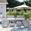 Bay Isle Home™ 8 Pieces Outdoor Patio Furniture Sets Rattan Chair Wicker Set, Outdoor Indoor Use Backyard Porch Garden Poolside Wicker/Rattan in Gray