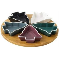 The Holiday Aisle® Colorful 5Pcs Tree Plates Chip & Dip Set Rotatable 10.3 Inches Ceramic Snack Plate w/ Bamboo Tray, Size 3.9 W in | Wayfair