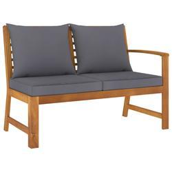 "vidaXL Garden Bench 45.1"" with Dark Gray Cushion Solid Acacia Wood"