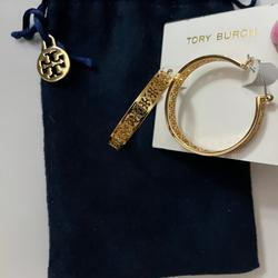Tory Burch Jewelry | Necklace Earring Set: Dainty 16 Necklace | Color: Gold | Size: 16 Necklacehoop Earrings