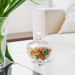 Alcott Hill® Glass Footed Candy Dish w/ Lid, Clear Covered Candy Bowl, Crystal Candy Jar w/ Legs For Home Office Desk Christmas Gift Glass in Brown