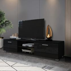 Latitude Run® Entertainment TV Stand, Large TV Stand TV Base Stand w/ LED Light TV Cabinet. Wood in Brown/White, Size 17.7 H in | Wayfair