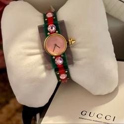 Gucci Accessories | Bnwt Gucci Ladies Vintage Web Bangle Watch | Color: Green/Red | Size: 24mm X 40mm Case