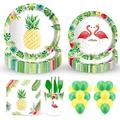 113 PCS Disposable Tableware, DreamJ Sunflower Party Supplies with Sunflower Paper Plates Cups Napkins Straws Balloons More for Baby Shower Bridal Shower,Birthday Summer Party Decoration (Hawaiian)