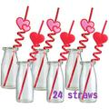 24 PCS Valentine Straws Crazy Loop Straws Red Heart Crazy Straws Valentine Party Drinking Straws with Hearts for Valentine's Party Wedding Party Supplies