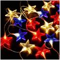 Star String Light, 9.8 ft/20 LEDs Battery Operated Red White Blue Lights Patriotic Decoration for 4th of July Independence Day Party Christmas Thanksgiving Day Decor, Warm White