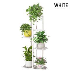 Indoor Outdoor Garden 5 Tier Wooden Plant Stand With Wheels Planter Flower Pot Shelf Home Decor-44.5*22*82cm(17.5*8.66*32.2inch)