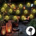 Morocco Globe Solar String Light Waterproof 16.5 ft 20 LED Crystal Ball Lighting for Garden Christmas Tree Decorations-2PACK
