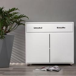 Storage Drawer File Cabinet nightstand Side Cabinet (Two Doors, White)