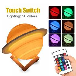 Saturn Lamp Smart Home Night Light Led Light Creative Table Lamp 3D Bedside Lamp Birthday Gift Chargeable Remote Control 16 Colors Lamp